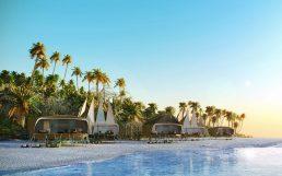 Arquitetura destacável, glamping hospitalidade, cabines da praia