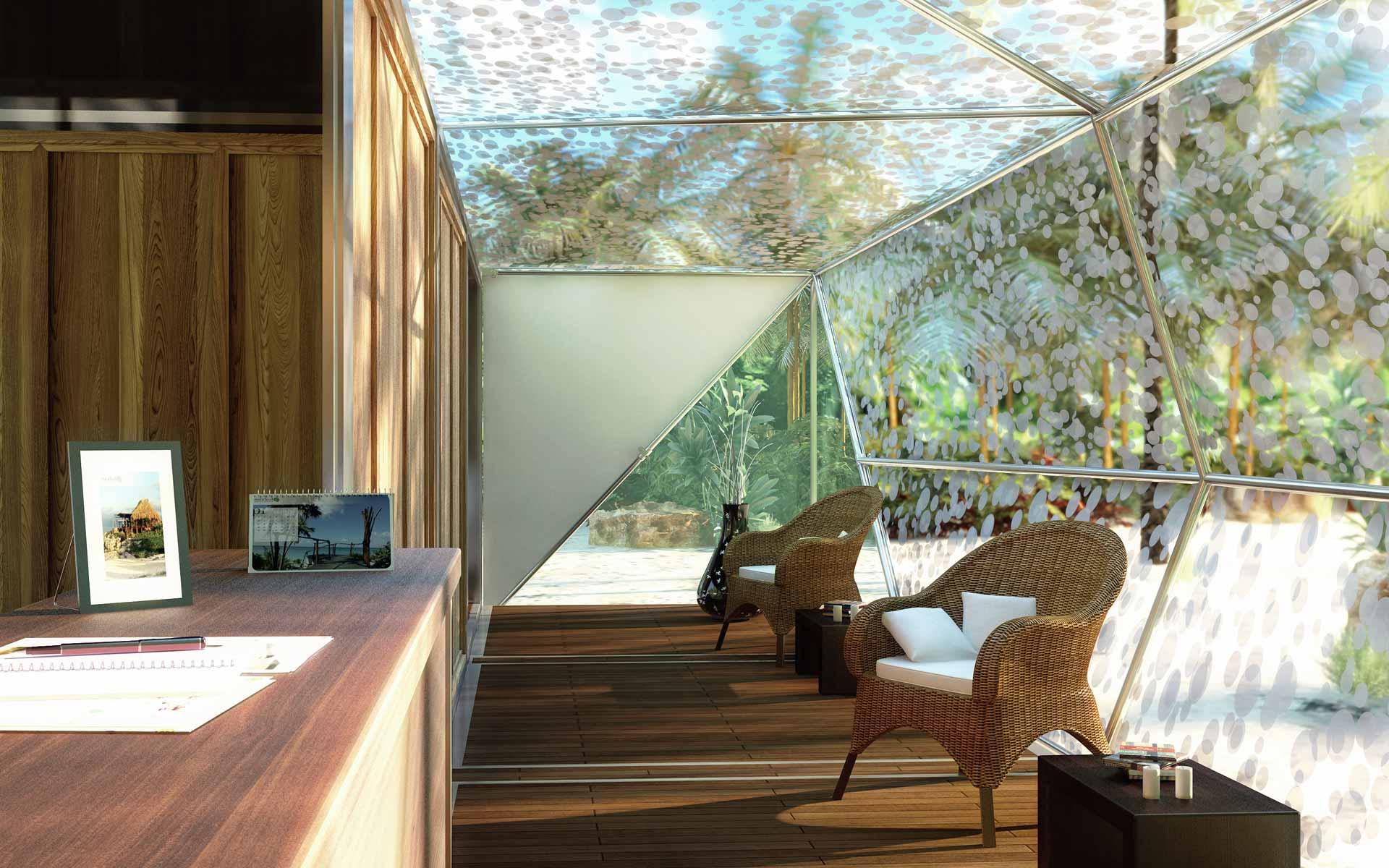 arquitectura desmontable, interior container recepción