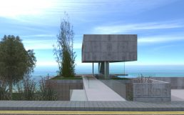Architecture: Modern house in a gated community, access under raw concrete floating volume with sea view