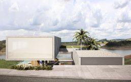 Arquitectura: Casa de hormigón armado, acceso entre dos volúmenes
