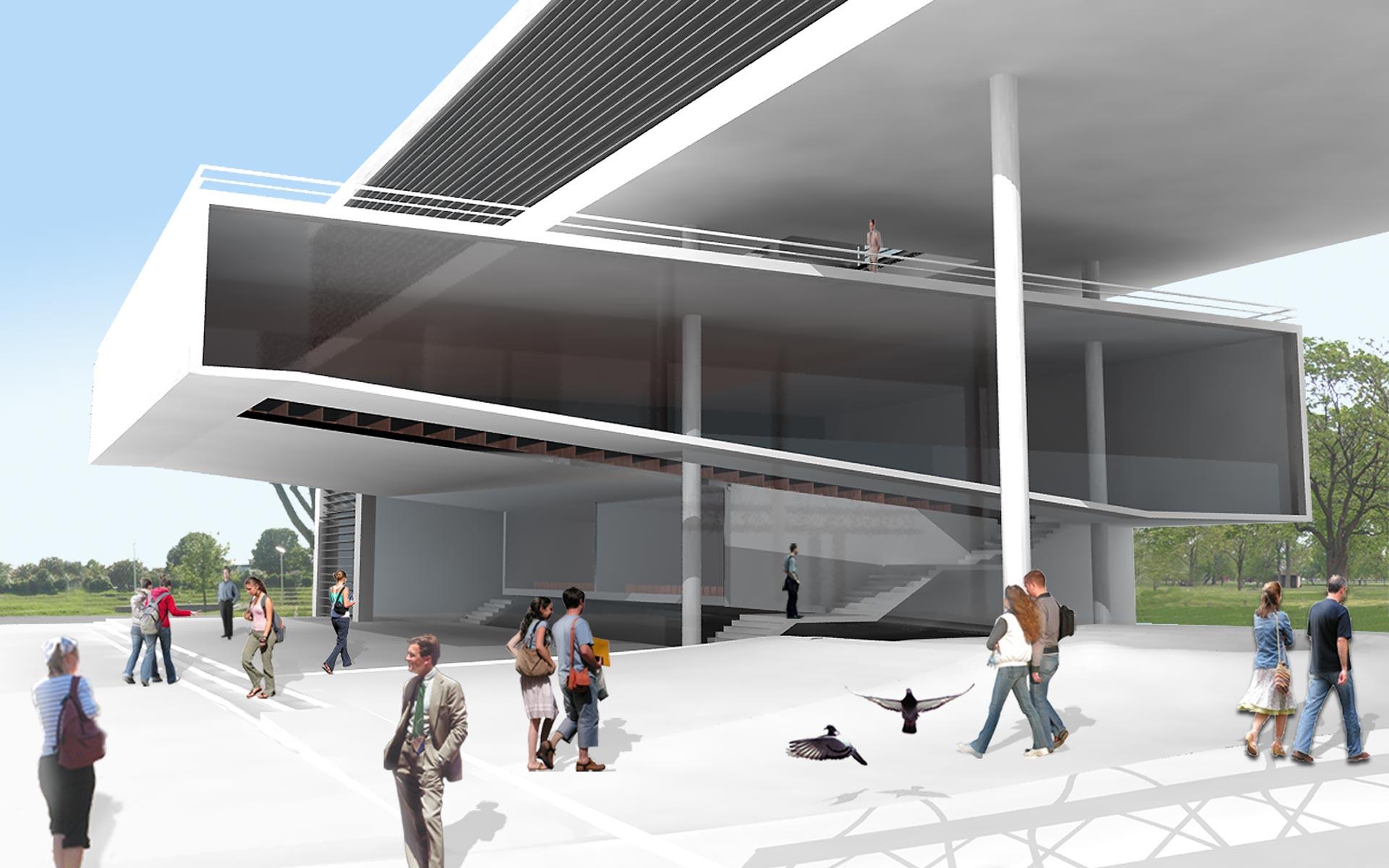 Concurso de arquitetura e paisagismo acesso praça e auditório flutuante no Ministério da Ciência e Tecnologia em Palermo