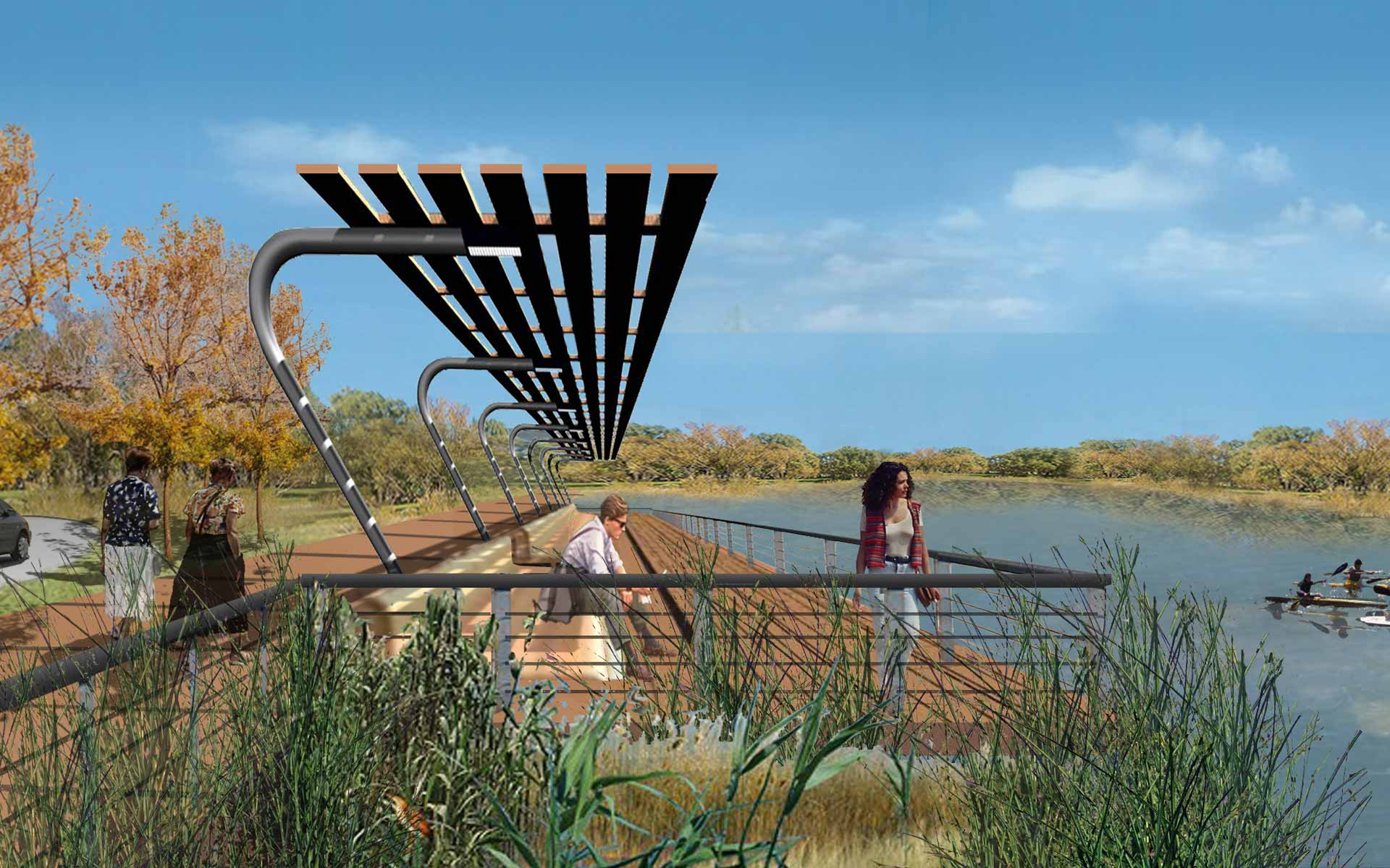 Paisagismo Concurso deck e pérgola de madeira de frente para o rio