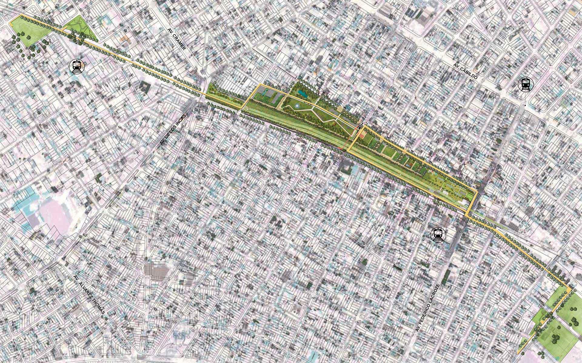 Arquitectura y Paisaje, planta del masterplan y la intervención en el area de colegiales con la inserción urbana de edificios y parques