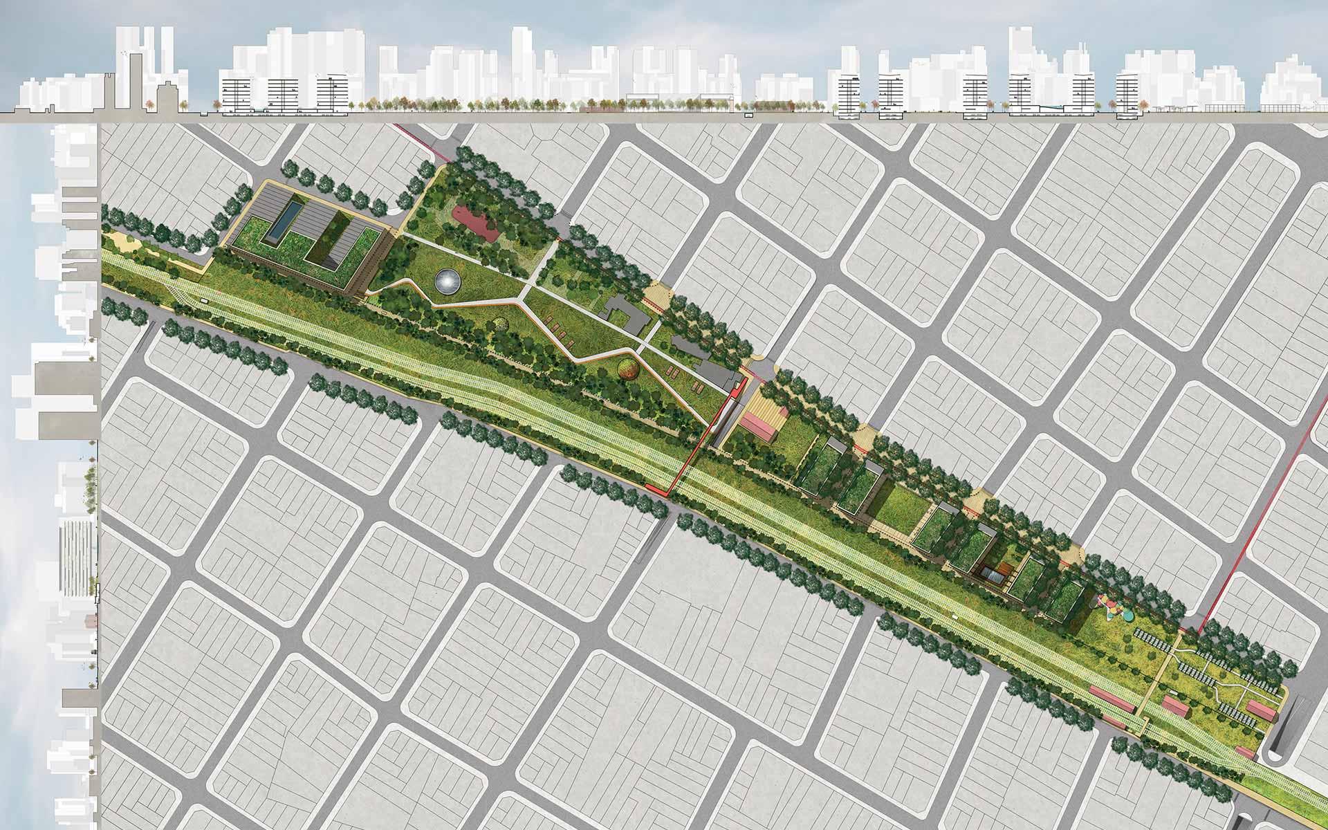Arquitectura y Paisaje, planta y secciones del masterplan y la intervención en el area de colegiales con la inserción urbana de edificios y parques